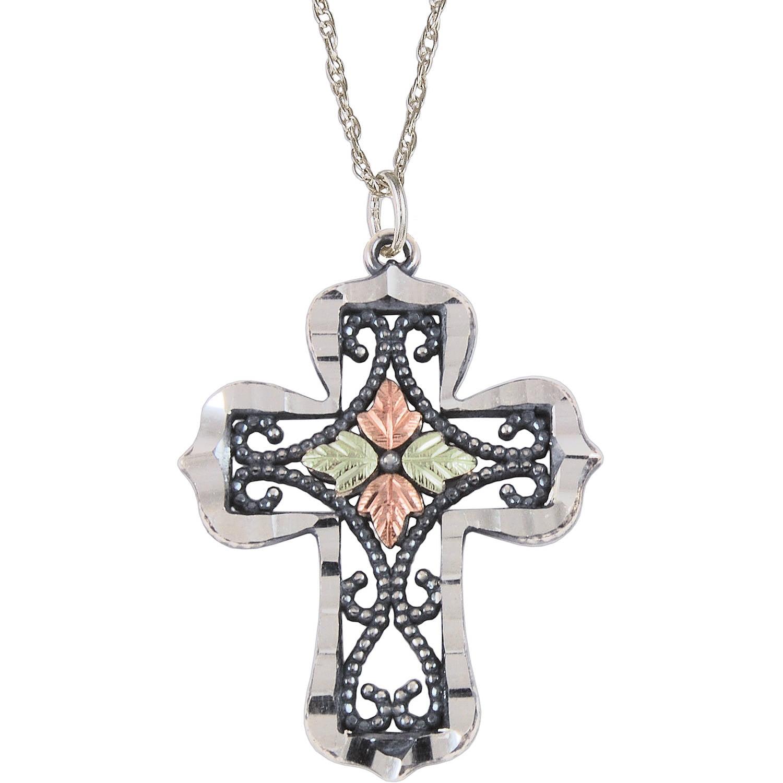 "Black Hills Gold Sterling Silver 12kt Gold Leaf Accented Oxidized Cross Pendant, 18"""