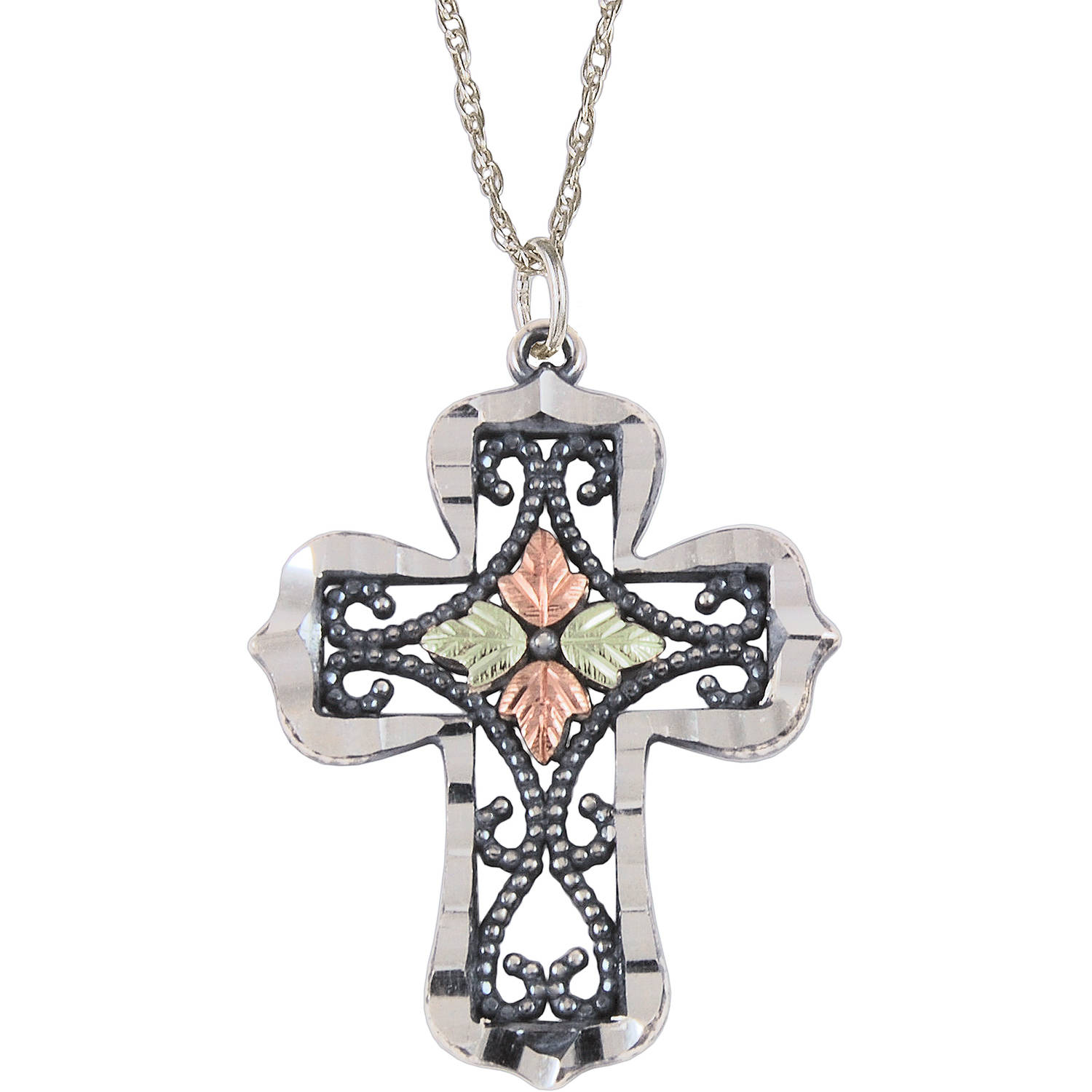 Black Hills Gold Sterling Silver 12kt Gold Leaf Accented Oxidized Cross Pendant, 18""