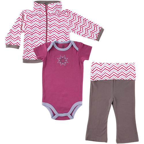 Yoga Sprout Newborn Baby Girls Jacket, Bodysuit & Pant - Lotus