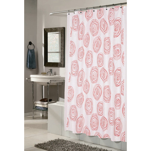 Carnation Home Fashions Lucerne Squiggle Circles Shower Curtain