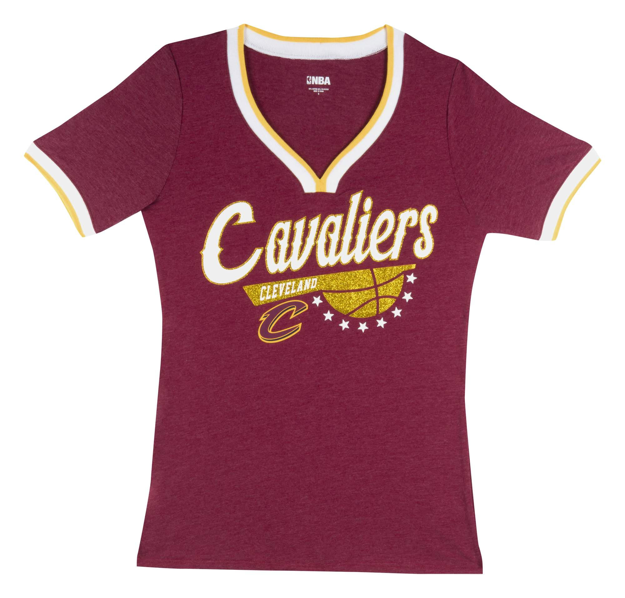 Cleveland Cavaliers Women's NBA Short Sleeve Biblend V Notch Scoop Neck Tee