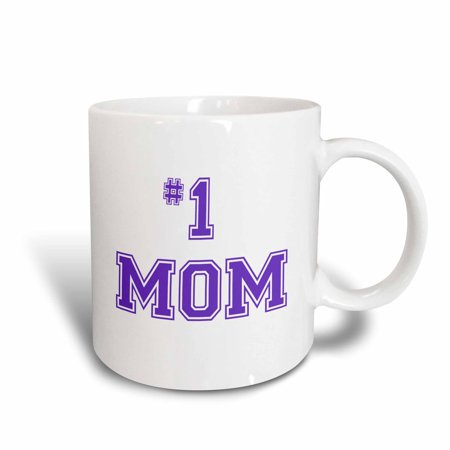 3dRose #1 Mom - Number One Mom in purple text - for worlds greatest and best Mothers day, Ceramic Mug, 11-ounce - Worlds Best Mom