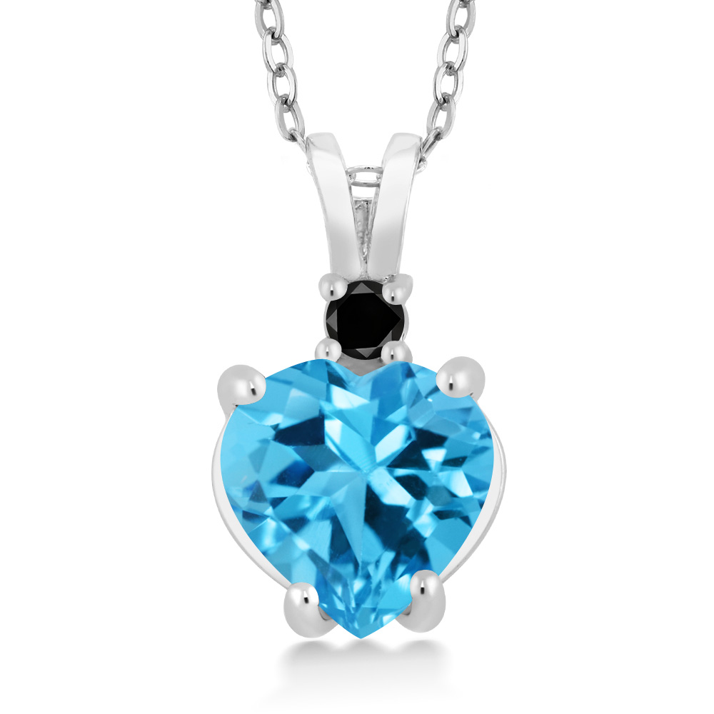 14K White Gold Heart Pendant set with 2.32 Ct Swiss Blue Topaz and Black Diamond by