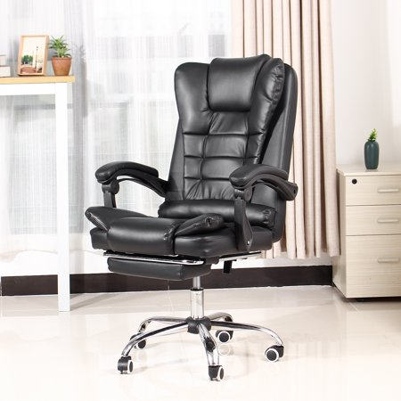 Black Gaming Chair - High Back Racing Computer Desk Office Chair Swivel Ergonomic Executive Leather Chair with Footrest High Back Swivel Chair