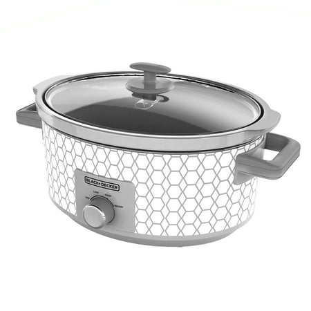 BLACK+DECKER 7 Quart Dial Control Slow Cooker, White/Gray Pattern, SC1007D