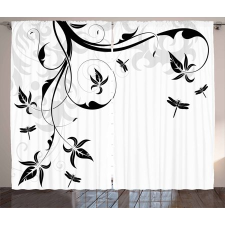 Dragonfly Curtains 2 Panels Set Swirled Floral Background