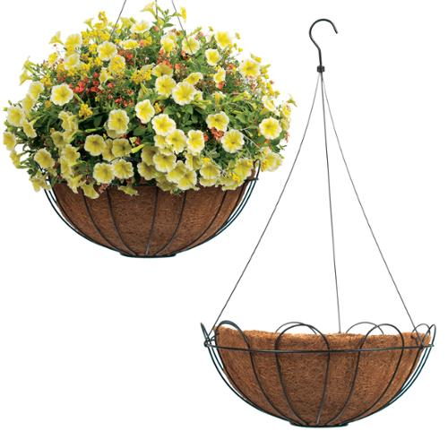Set of 2 Hanging Planters Coco Fiber Lined Plant Flower Black Wire Metal Basket