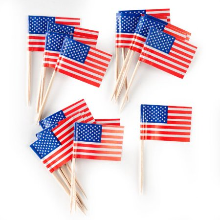 Creative Converting American Flag Picks Party Appetizer Cocktail Cupcake & Dessert Picks, 50 (Flag Party Picks)