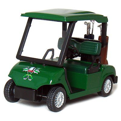 "4.5"" Kinsfun Golf Cart w/ Clubs Diecast Model Caddy Toy Car Green (New, No Retail Box)"