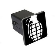 "Hand Grenade White On Black 2"" Tow Trailer Hitch Cover Plug Insert"