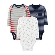 Child of Mine by Carter's Baby Boy Long Sleeve Bodysuits, 3-Pack