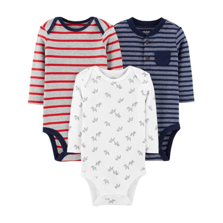 Child Of Mine By Carter's Long Sleeve Bodysuits, 3pk (Baby Boys)