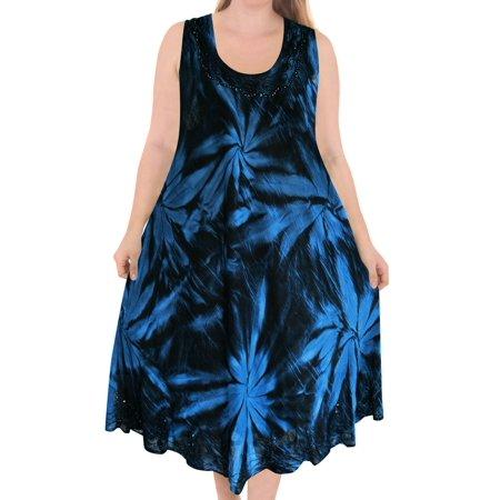 d6b9c3dede La Leela Hand Tie Dye Women s Caftan Tunic Swimsuit Short Dresses Cover up  Beach wear Plus Size Party Evening Kaftan Blouse  Maxi Top Rayon  Embroidered ...