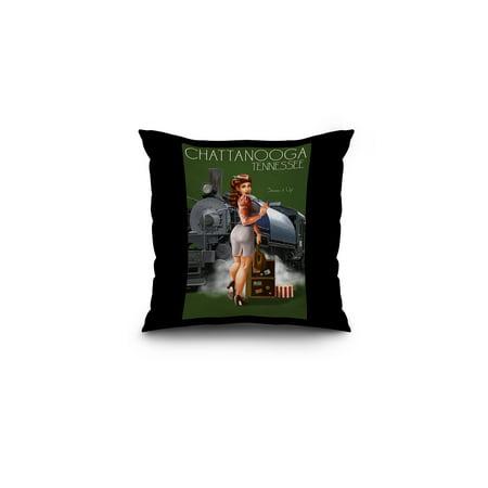 Chattanooga, Tennessee - Locomotive Pinup Girl - Lantern Press Poster (16x16 Spun Polyester Pillow, Black Border)