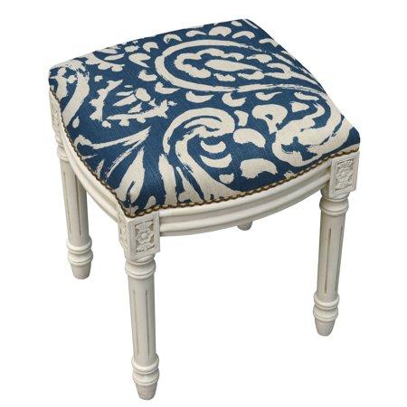 123 Creations Paisley Antique White Finish Nailheads Vanity Stool Blue ()