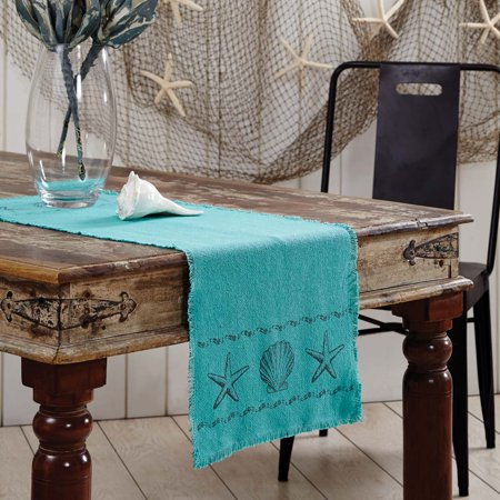 Ashton & Willow Aqua Blue Coastal Tabletop Kitchen Sandy Burlap Cotton Stenciled Cotton Burlap Nautical Rectangle 13x36 Runner - Burlap Runner