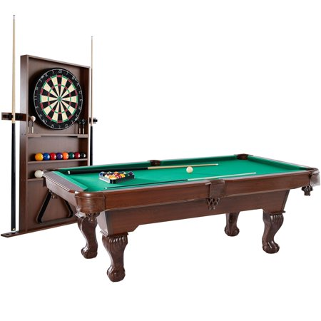 Barrington 90 Inch Ball and Claw Leg Billiard Pool Table with Bonus Cue Rack and Dartboard Set (Logo Billiard Pool)