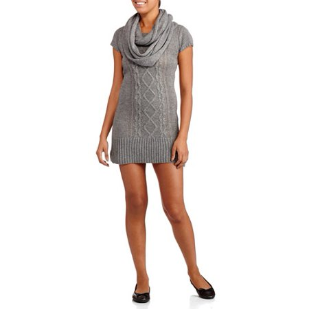 Lei Juniors Short Sleeve Cable Knit Sweater Dress With Side