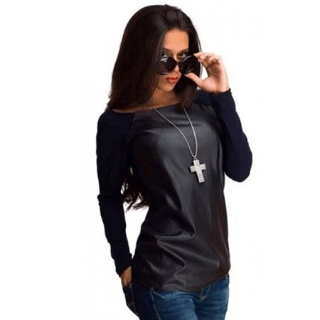 New Sexy Womens Leather Long Sleeve Sweatshirt T-Shirt Casual Loose Blouse (Leather Womens Shirt)