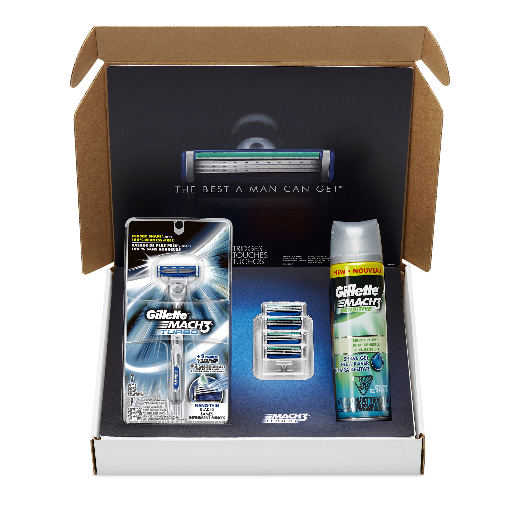 Gillette MACH3 Turbo Bundle With 5 Razor Blade Refills + 1 MACH3 Turbo Handle + MACH3 Sensitive Shave Gel 7oz, 1 kit