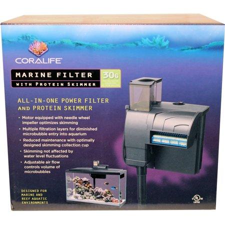 Fish Tank Protein Skimmer - Coralife-Coralife Marine Filter With Protein Skimmer- Black 50 Gph