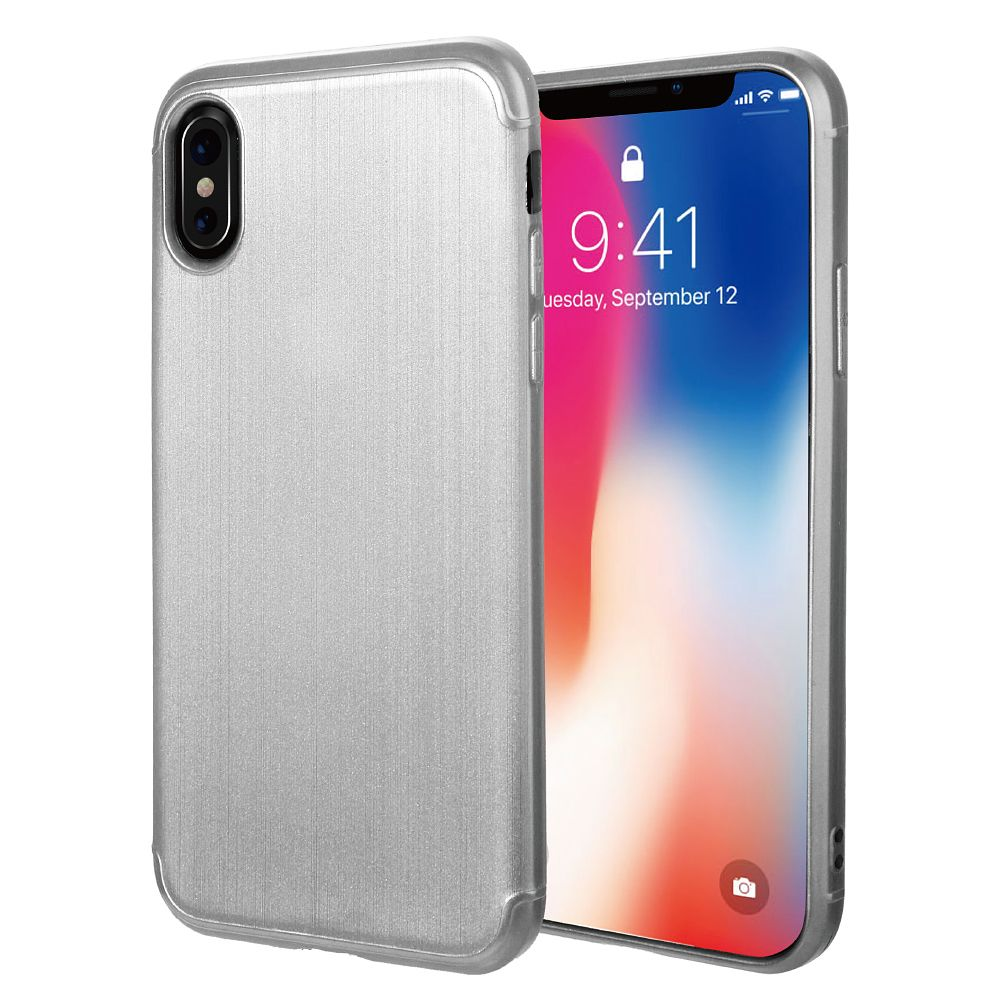 iPhone X Case, iPhone X Phone Case, by Insten Brushed Surface Slim TPU Rubber Soft Skin Cover For Apple iPhone X (Supports wireless charging)(Fringerprint-proof)(Camera Protection) - Silver - image 5 of 5