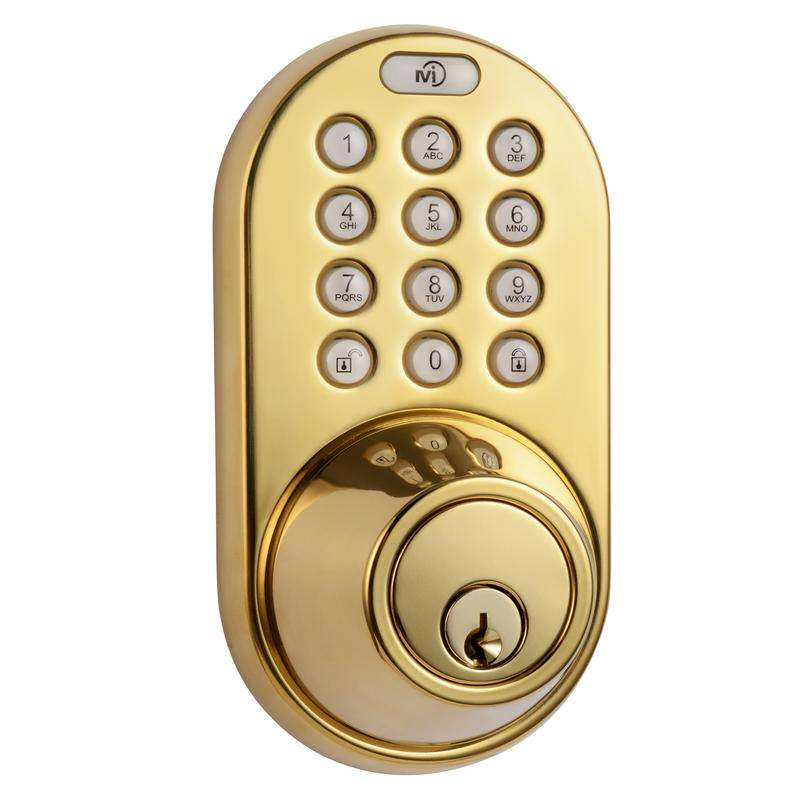 MiLocks Digital Deadbolt Door Lock, Polished Brass Finish with Keyless Entry via Remote Control and Keypad Code for Exterior Doors (XF-02P)
