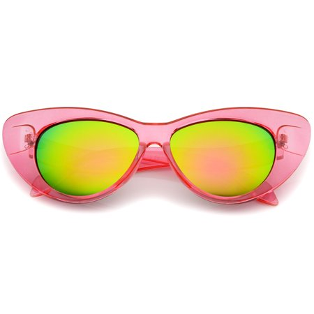 75f2c96d88 sunglassLA - sunglassLA - Women s Iridescent Mirror Lens Exaggerated Cat  Eye Sunglasses - 51mm - Walmart.com