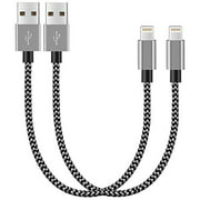 Chargers, Short Nylon Braided Fast Charging Cord, Data Sync Short Cable USB Powered Compatible with Apple iPhone, iPod Mobile Digital Device, Charging Station, Black, Silver 10-inch, 2-Pack