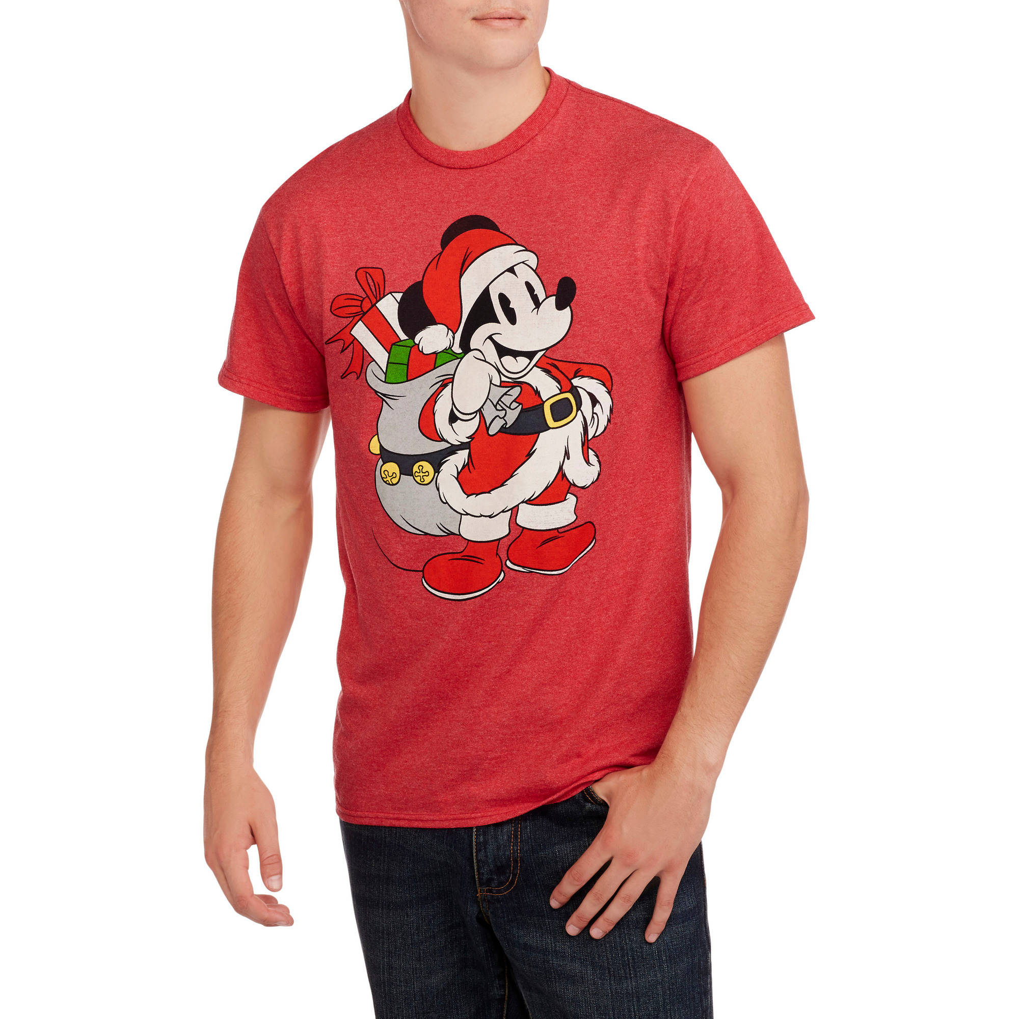 Mickey Mouse Santa Big Men's Christmas Graphic Tee, 2XL
