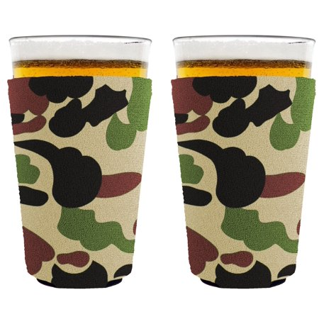 Blank Neoprene Collapsible Pint Glass Coolie (2, (Camo Glasses)