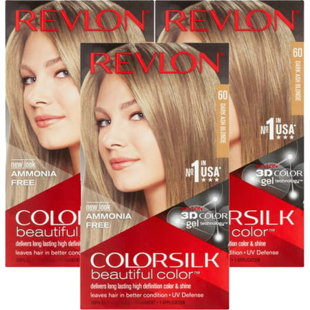 (3 Pack) Revlon ColorSilk Beautiful Color 60 Dark Ash Blonde Hair Color, 1 application