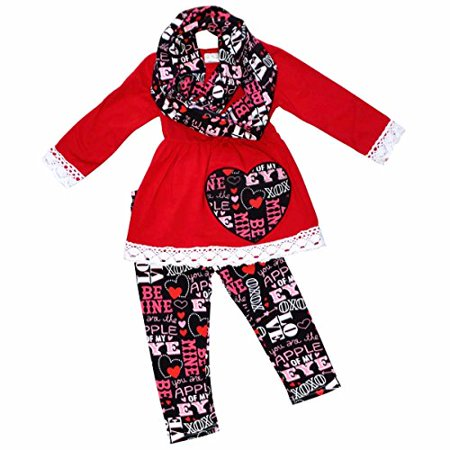 c2854dc816463 Unique Baby Girls Valentine's Day Outfit Crotchet Trim Legging Set (3T/S,  Red)