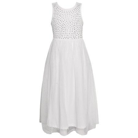 Girls White Sparkle Stone Embellished Sleeveless Easter Dress