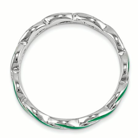Sterling Silver Stackable Expressions Green Enamel Ring Size 5 - image 3 of 3