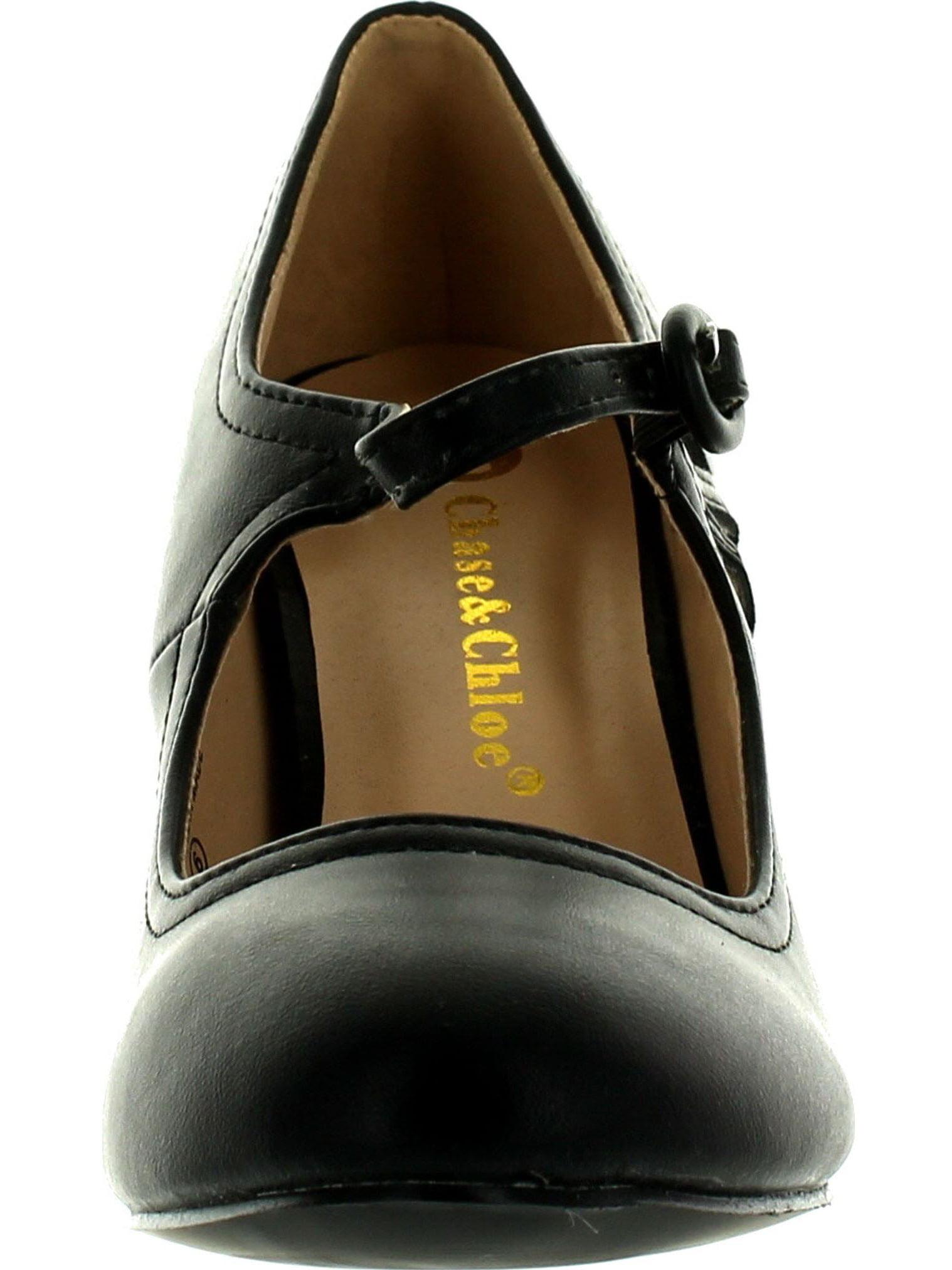 Chase & Chloe Kimmy-21 Women's Round Toe Pierced Style Mid Heel Mary Jane Style Pierced Dress Pumps 16a675