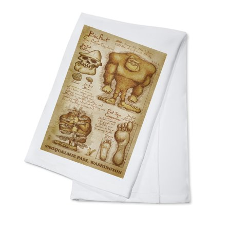Snoqualmie Pass  Washington   Bigfoot Da Vinci   Lantern Press Artwork  100  Cotton Kitchen Towel
