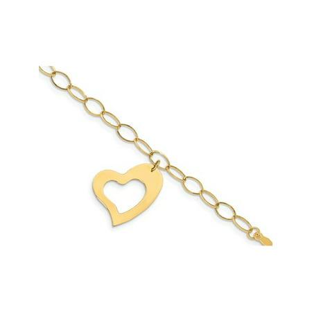 14K Yellow Gold Oval Link Heart Bracelet