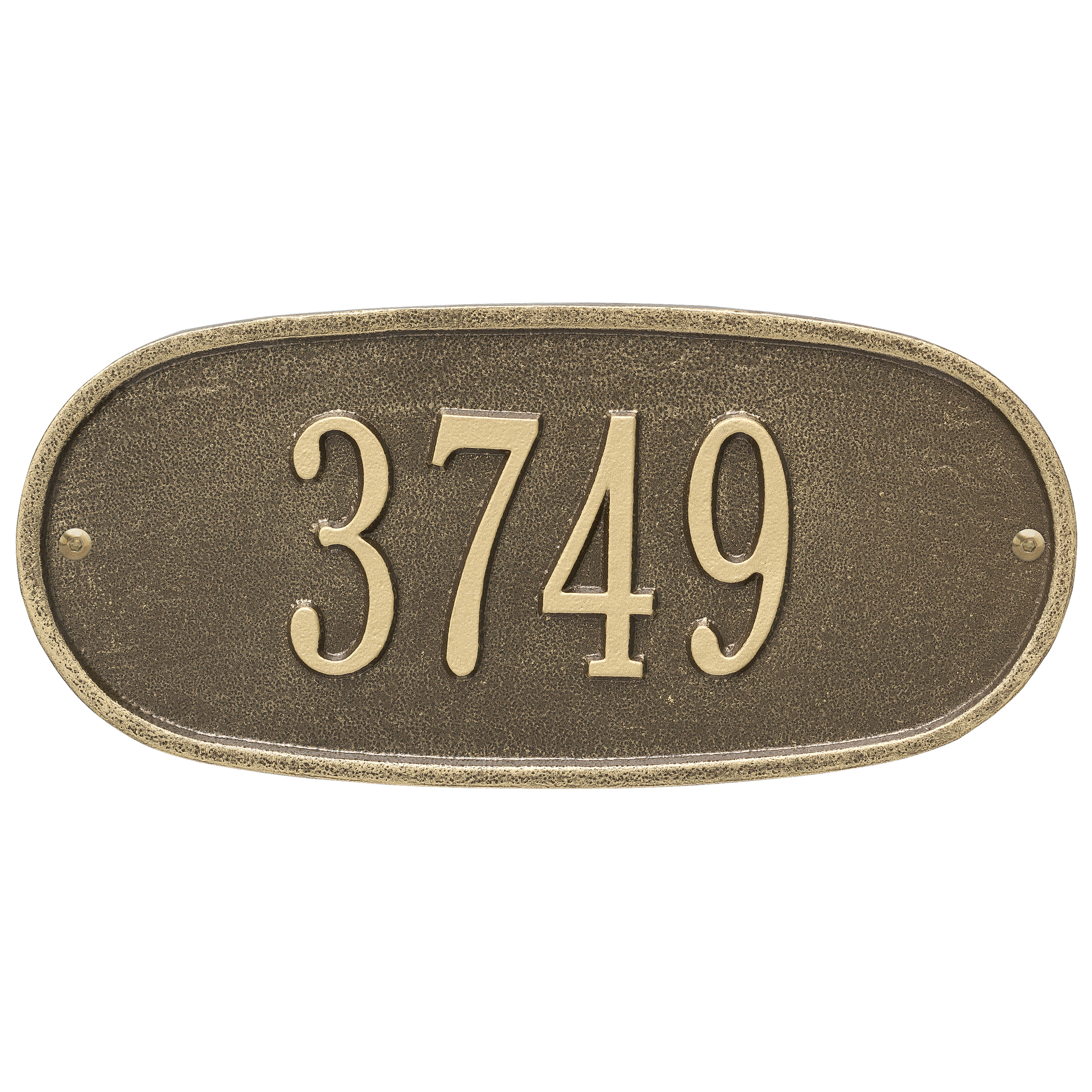 Personalized Whitehall Products Oval 1-Line Standard Wall Plaque in Antique Brass