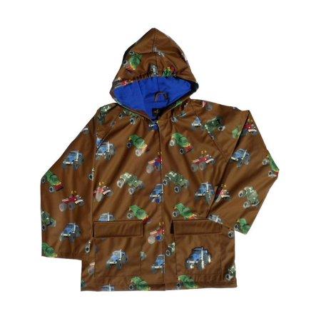 Boys Brown Monster Truck Rain Coat 10