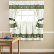 embroidered berkshire floral 5 piece kitchen curtain cottage set 24 or - Kitchen Window Curtains
