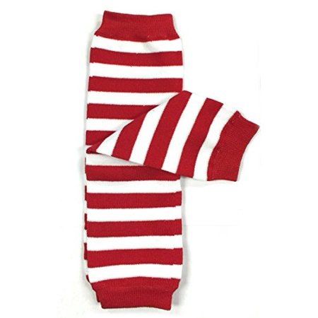 ALLYDREW Stripes, Polka Dots & Chevron Baby Leg Warmer & Toddler Leg Warmer for Boys & Girls, Red & White Stripes