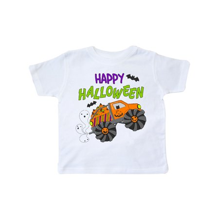 Happy Halloween-monster truck with pumpkins, bats, cat,and ghost Toddler T-Shirt