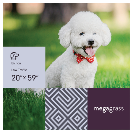 MegaGrass Bichon 20 x 59 in Artificial Grass for Small Pet Dog Potty Indoor/Outoor Area