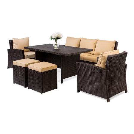 Best Choice Products 6-Piece Modular Wicker Patio Dining Sofa Set with 7 Seats and Glass Top Coffee Table, Brown ()