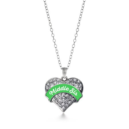 Emerald Green Middle Sis Pave Heart Necklace