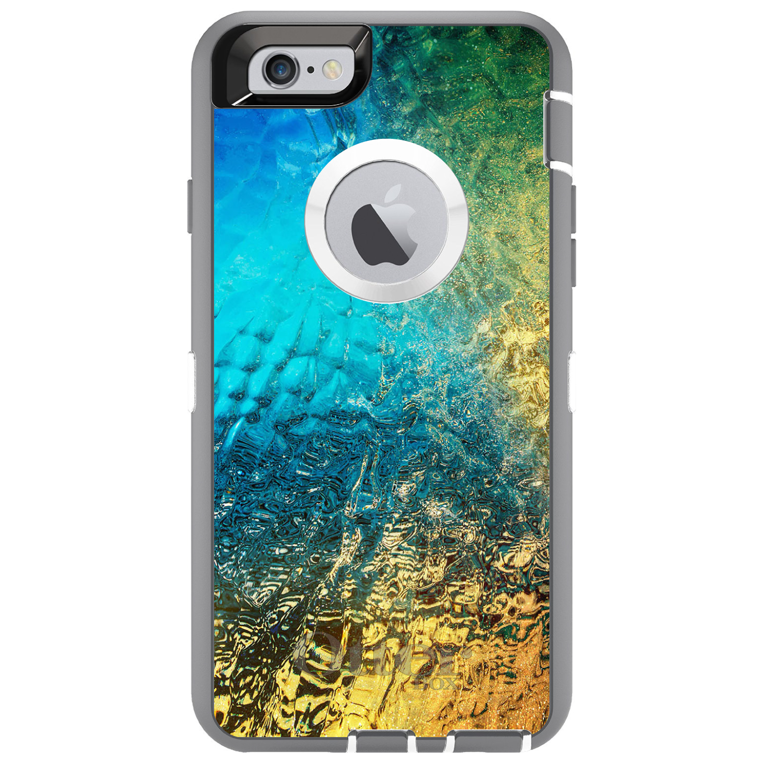 """DistinctInk™ Custom Grey OtterBox Defender Series Case for Apple iPhone 6 / 6S (4.7"""" Screen) - Colorful Rainbow Waterfall"""