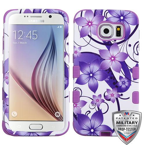 Samsung Galaxy S6 Case - Wydan Tuff Hybrid Hard Shockproof Case Protective Rubber Cover Purple Flower
