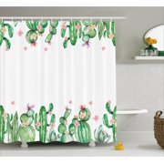 Cactus Decor Shower Curtain Mexico Style Tender Blossoms And Barren Heath Vegetation Fabric
