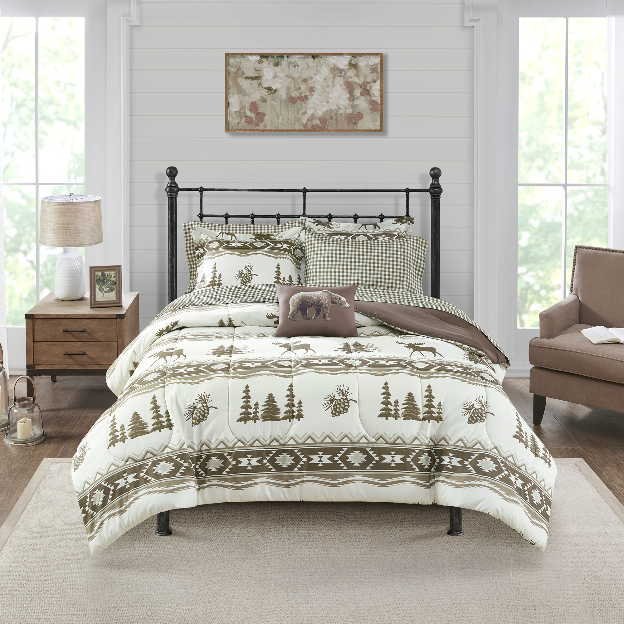 Mainstays Lodge Moose Printed Stripe 9 Piece Bed in a Bag Bedding